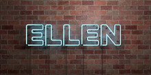 ELLEN - Fluorescent Neon Tube Sign On Brickwork - Front View - 3D Rendered Royalty Free Stock Picture. Can Be Used For Online Banner Ads And Direct Mailers..