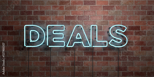 DEALS - fluorescent Neon tube Sign on brickwork - Front view - 3D rendered royalty free stock picture Wallpaper Mural