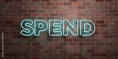 Fotografía  SPEND - fluorescent Neon tube Sign on brickwork - Front view - 3D rendered royalty free stock picture