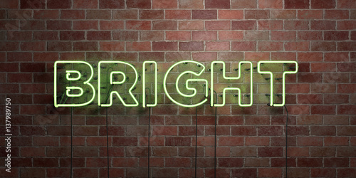 Fotografie, Obraz  BRIGHT - fluorescent Neon tube Sign on brickwork - Front view - 3D rendered royalty free stock picture