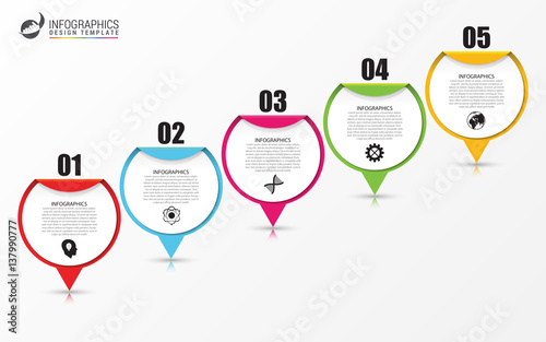 Photo  Timeline Infographic with pointers. Business concept