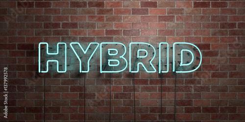 Foto  HYBRID - Leuchtstoffröhre Neonzeichen auf Maurerarbeit - Vorderansicht - 3D übertrug freies Archivbild der Abgabe