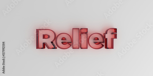 Fotografia  Relief - Red glass text on white background - 3D rendered royalty free stock image