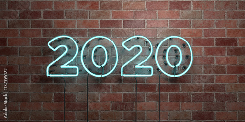 Poster  2020 - fluorescent Neon tube Sign on brickwork - Front view - 3D rendered royalty free stock picture