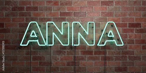 ANNA - fluorescent Neon tube Sign on brickwork - Front view - 3D rendered royalty free stock picture Poster