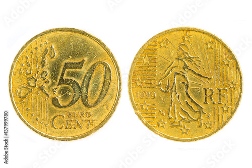 Front and back France 2001 fifty cents, RF Euro currency isolated on white backg Poster