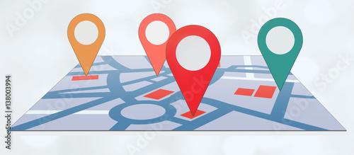 Fotografía  Pins auf Straßenkarte