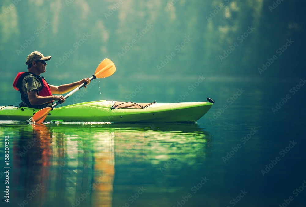 Fototapeta Senior Kayaker on the Lake