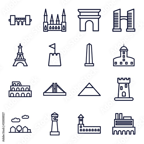 Poster  Set of 16 landmark outline icons