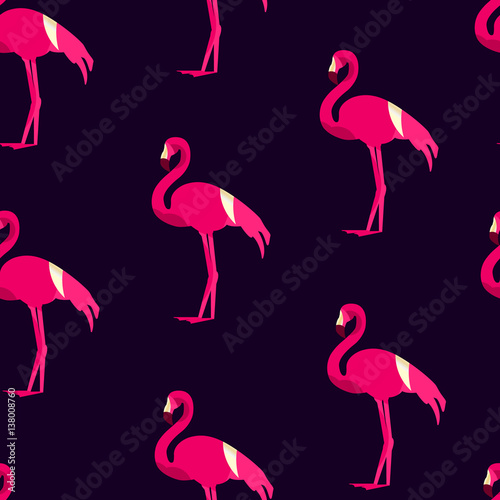 Canvas Prints Flamingo Bird Seamless pattern with flamingo on dark background. Ornament for textile and wrapping. Vector .