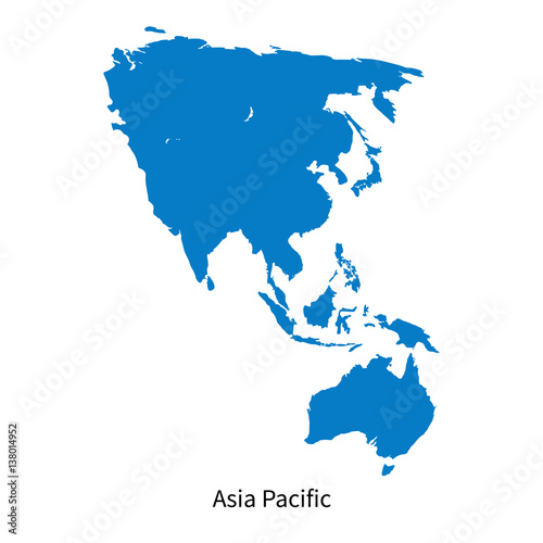 Photo  Detailed vector map of Asia Pacific Region
