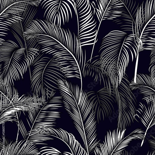 Deurstickers Kunstmatig Seamless tropical pattern