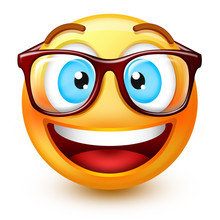 Cute Nerd-face Emoticon Or 3d Smiley Emoji  Reading With A Pair Of Eyeglasses.