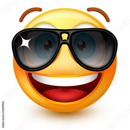 Cute Smiley Face Emoticon Or 3d Smiley Emoji With Dark Sunglasses