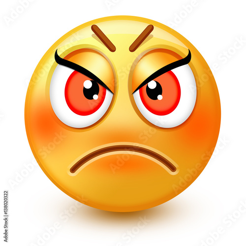 cute anamused face emoticon or 3d angry emoji showing anger or