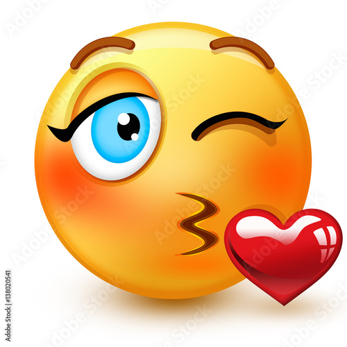 cute kissing face emoticon or 3d throwing a kiss emoji that shows