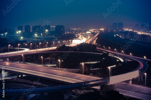 Aerial View of Suzhou overpass at Night in China. Poster