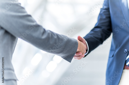 Photo  shake hands, business greeting concept