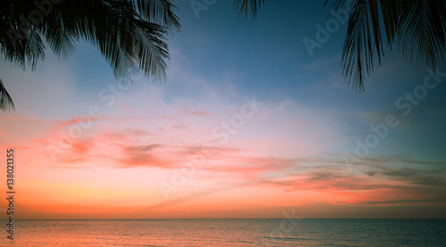 Fotobehang Zee zonsondergang beautiful gorgeous, amazing natural view of tropical sunset time background at Cuban Cayo Coco island