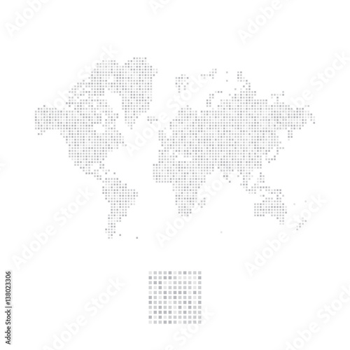 Acrylic Prints World Map Abstract world map in a square dots. Flat vector illustration EPS 10