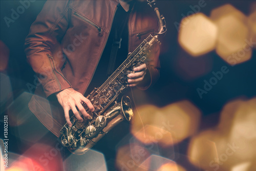 Jazz saxophone player in performance on the stage Poster