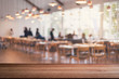 canvas print picture - Empty wooden table space platform and blurred restaurant interior