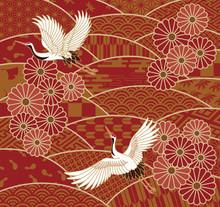 鶴と菊の花と波の和風模様