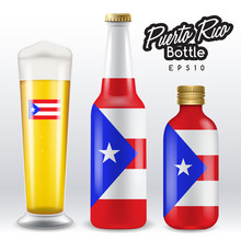 World Flag Wrapping On Beer Bottle : Puerto Rico : Vector Illustration