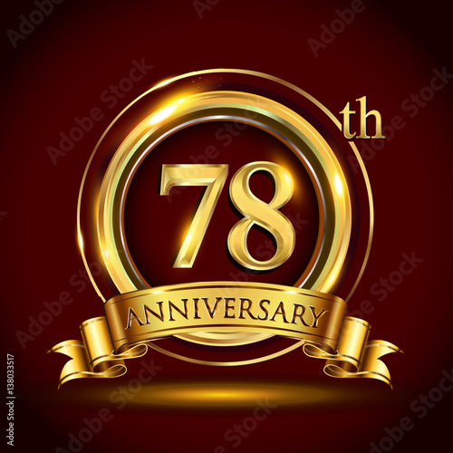 78th Golden Anniversary Logo With Gold Ring And Ribbon