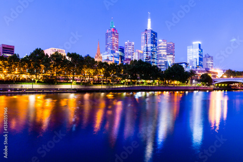 Poster Melbourne CBD lights reflected in the Yarra River, Australia