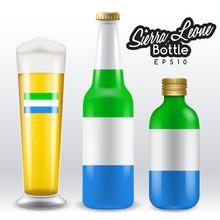 World Flag Wrapping On Beer Bottle : Sierra Leone : Vector Illustration