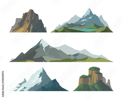 Fototapeta Mountain mature silhouette element outdoor icon snow ice tops and decorative isolated camping landscape travel climbing or hiking geology vector illustration. obraz