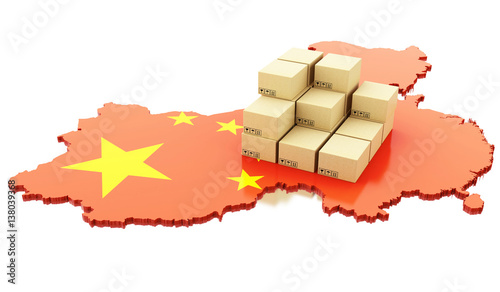3d China map with cardboard boxes.
