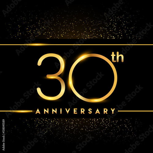 Poster  Celebrating of 30 years anniversary, logotype golden colored isolated on black b