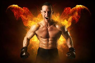 Panel Szklany Podświetlane Fitness / Siłownia MMA athlete