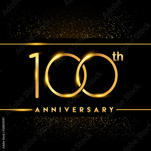 Poster  Celebrating of 100 years anniversary, logotype golden colored isolated on black