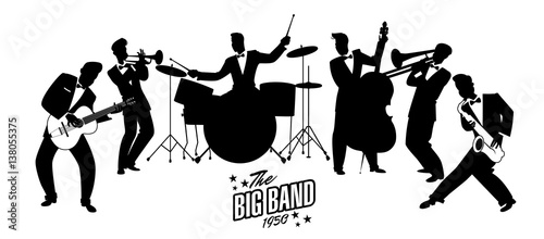 Tuinposter Art Studio Jazz Swing Orchestra. Silhouettes vector illustration. 50's or 60's style musicians