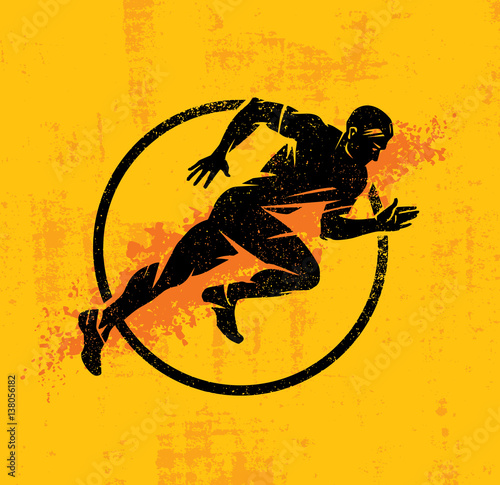 Fotografie, Tablou  Dynamic Running Man Vector Illustration On Grunge Rough Background With Color Sp