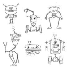 Set Of Crazy Cartoon Vector Robot Characters