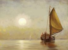 Boat, Sea,sun,oil Paintings