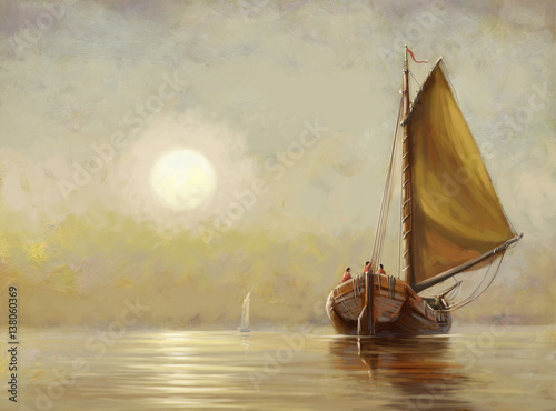 Boat, sea,sun,oil paintings - 138060369