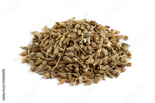Pile of of dried anise seed (aniseed) isolated on white background Wallpaper Mural