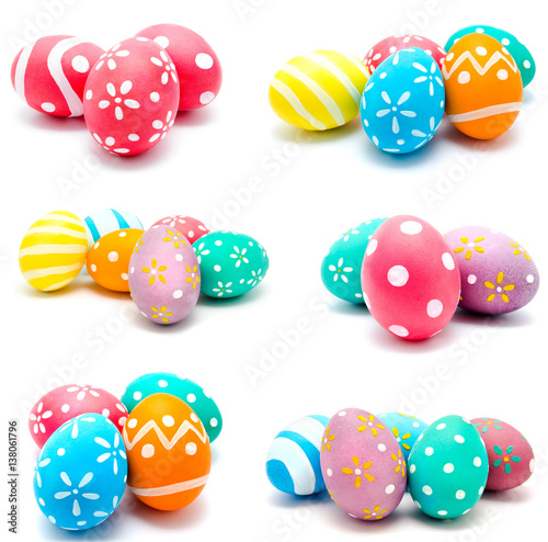 Stampe  Collection of photos perfect colorful handmade easter eggs