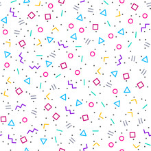 Abstract Geometric Background, Memphis Style, Bright Neon Colors, Seamless Vector Pattern