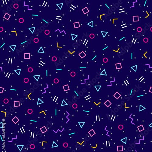 streszczenie-geometryczne-ciemnoniebieskie-tlo-styl-memphis-jasne-kolory-neonowe-bez-szwu-wektor-wzor-rozne-ksztalty-geometryczne