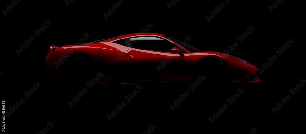Fototapeta Sportwagen Designstudie im Studiobeleuchtet mit einem einzigen Blitz