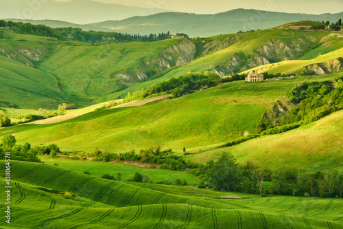 Foto op Plexiglas Panoramafoto s hill, outdoor, sunlight, tree, italian, meadow, agriculture, green, spring, italy, view, farmland, seasonal, field, tuscan, scenery, cypress, vineyard, grass, summer, farm, village, countryside, panor