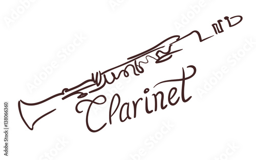 Tableau sur Toile Clarinet line art drawing on white. vector illustration