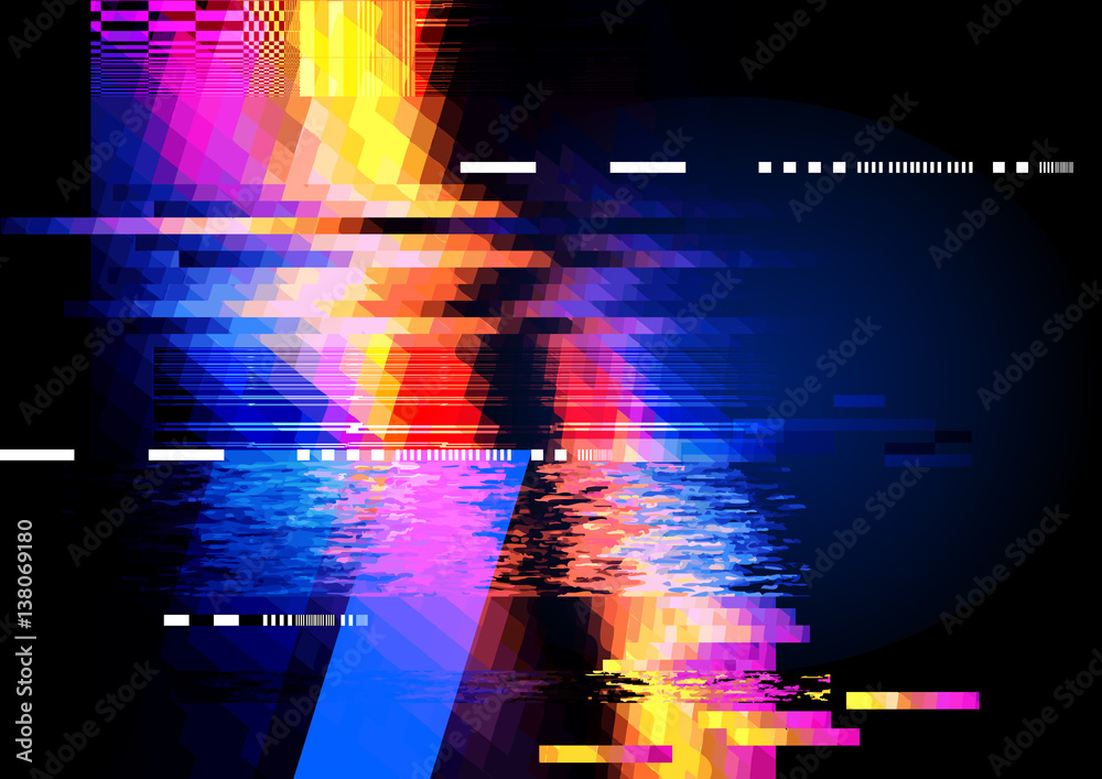 Fototapeta A glitch noise distortion texture background. Vector illustration