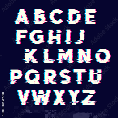 Fotobehang Draw Glitch displacement type letters with fault lines. Vector illustration